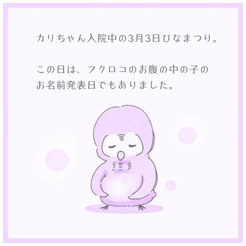 カリちゃん入院中の3月3日ひなまつり。この日は、フクロコのお腹の中の子のお名前発表日でもありました。